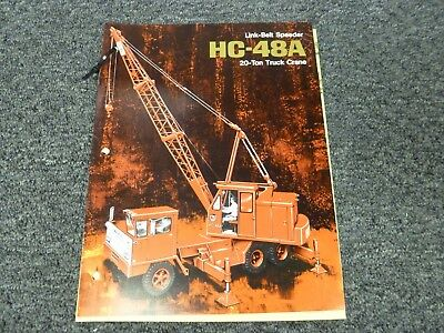 Link Belt Speeder Hc-48a Truck Crane Specifications Lifting Capacities Manual
