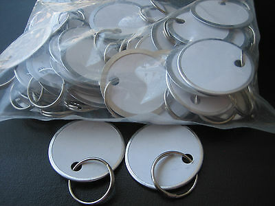 """Lot 50 Metal Edged 1 1/4"""" White Paper Tags with Ring / Key ID Labels Tags"""