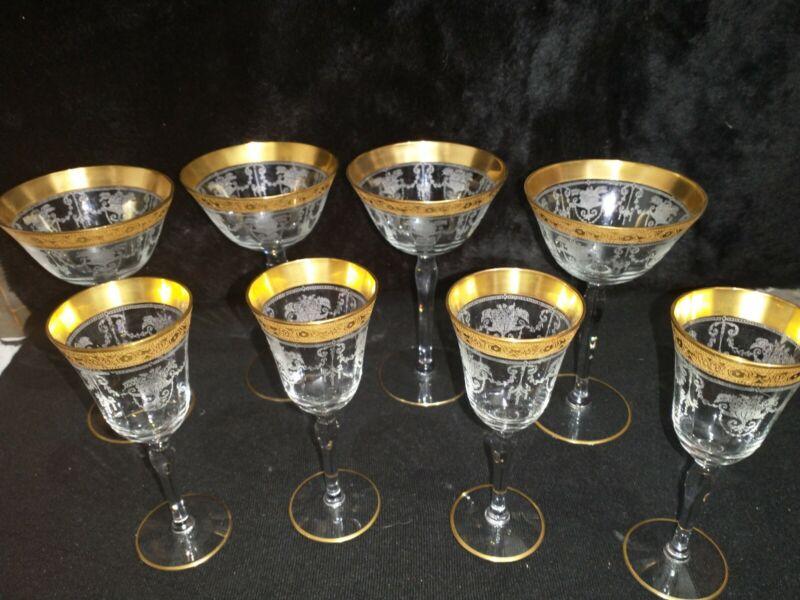 8 Vintage Tiffin Ramblin Rose Gold Encrusted Rim Cordial crystal Glasses 24k rim