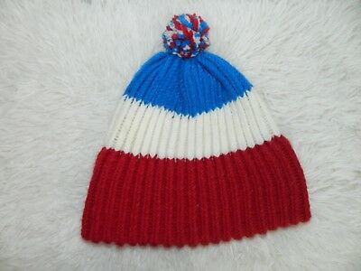 Vintage Beanie Cap Hat Red White and Blue Pom Pom Winter Adult Size - Red White And Blue Pom Poms