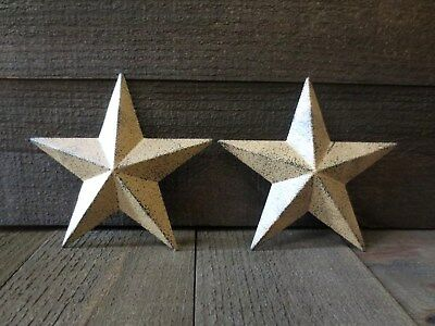 """Set of 2 Country Tan Primitive 10"""" inches Barn Stars Rustic Wall Decor Tin Metal"""
