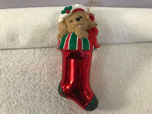 Christmas ornament plastic red stocking puppy red ribbon on top CH4188