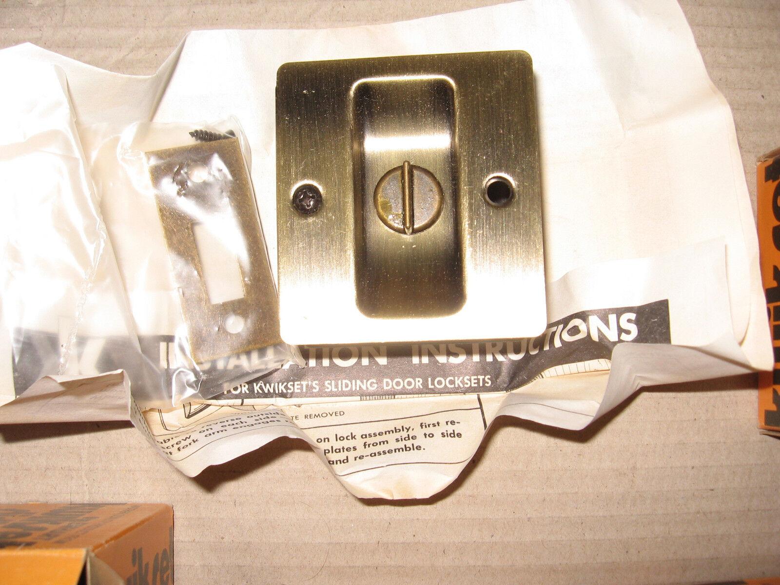 Lot 2 Kwikset Privacy Notch Antique Brass Pocket Sliding Doo