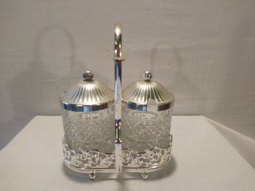 Vintage International Silver Company Silver Plated With Cut Crystal Glass Sugar - $30.99