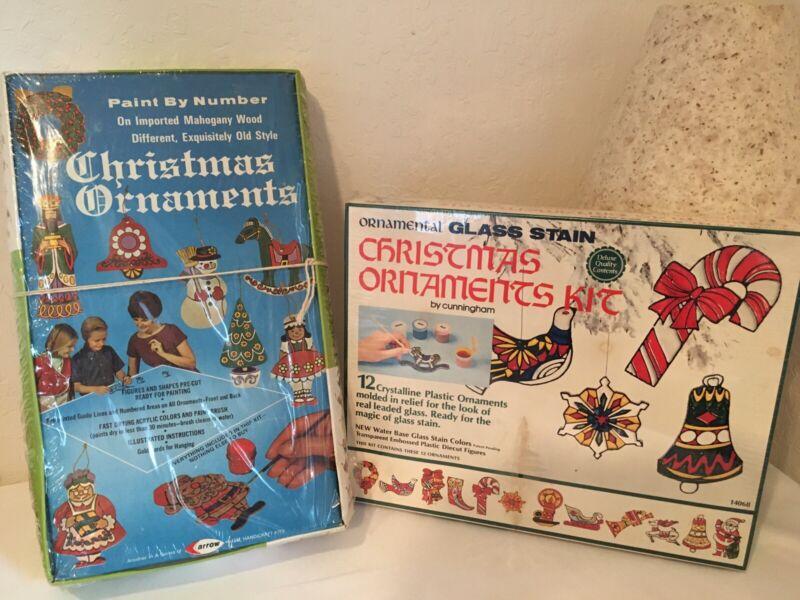 2 VINTAGESEALED  Christmas Ornament Kits  1971 Arrow PBN + 1973 Glass Stain