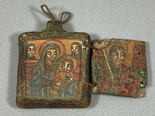 210219 - Ethiopian handpainted1 - 18th coptic stone & Leather icon - Ethiopia.