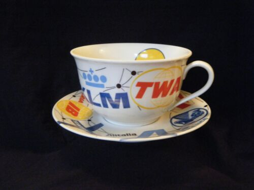 Rare Vtg Lufthansa,TWA, KLM,PAN AM,TAP, SAS Air logo16 oz.Coffee cup and saucer.