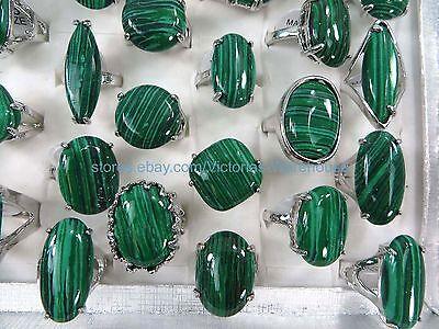 US SELLER-12pcs chunky green malachite rings wholesale buy jewelry in bulk - Rings In Bulk