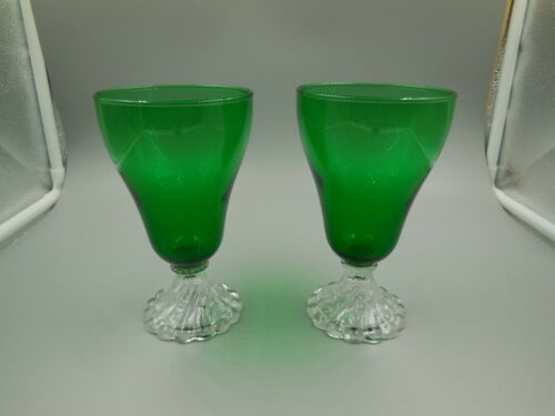 "2 ANCHOR HOCKING 5-3/4"" FOREST GREEN BOOPIE BURPLE WATER / TEA GLASSES, TUMBLERS"
