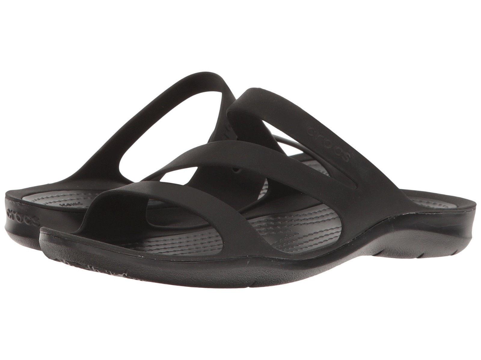 Women Crocs Swiftwater Sandal 203998-060 Black Black 100% Authentic Brand New