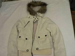Women's jacket, off white, fur around hood. Brand RE. Size S Auchenflower Brisbane North West Preview