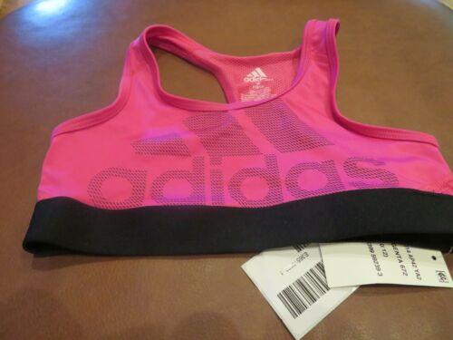 NWT Girls Pink & Black Adidas Sports Bra, L