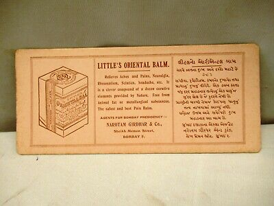 Vintage Little'S Orientals Balm For Ache & Pain Advertise Sample Card Blotter ""
