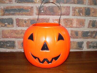 Vintage Empire Blow Mold Plastic Jack-O-Lantern Pumpkin Halloween Candy Bucket