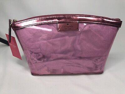 Kate Spade SABINE Pink Metallic Sapphire Clear Medium Cosmetic Bag Pouch Case