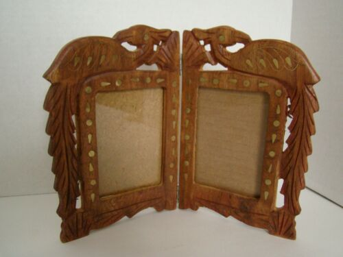 Hand Carved Double Wood Picture Frame With Inlaid Brass