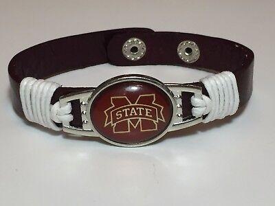 Mississippi State Bulldogs Leather Adjustable Bracelet, Gift for Her Mom Him Dad