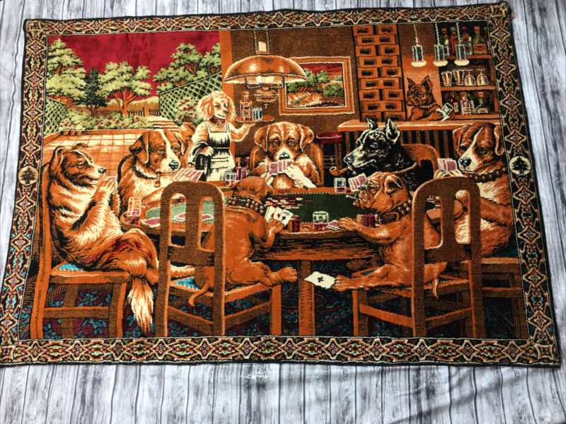 Dogs Playing Poker Cloth Tapestry