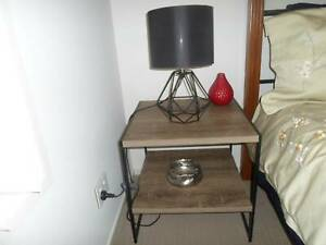 BEDSIDE TABLE AND BLACK MODERN LAMP $20 FOR BOTH