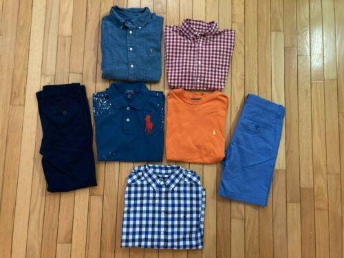 7 pc. lot Ralph Lauren Crewcuts Janie & Jack shirts shorts pants10 10-12 Boys