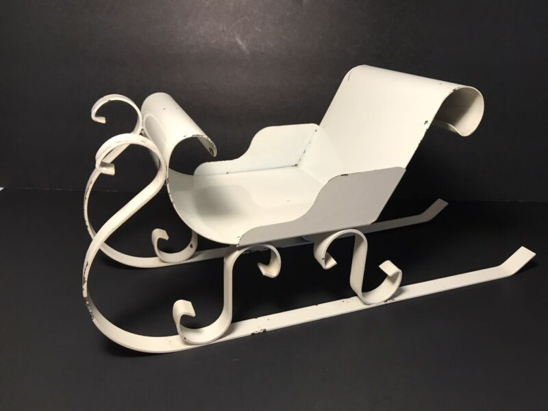 """Vintage Small Metal Sleigh White Chippy Paint 13.5"""" Long Holiday Christmas Decor"""
