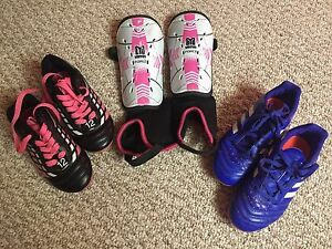 Girls Soccer Shoes (2 pair) w/shin pads