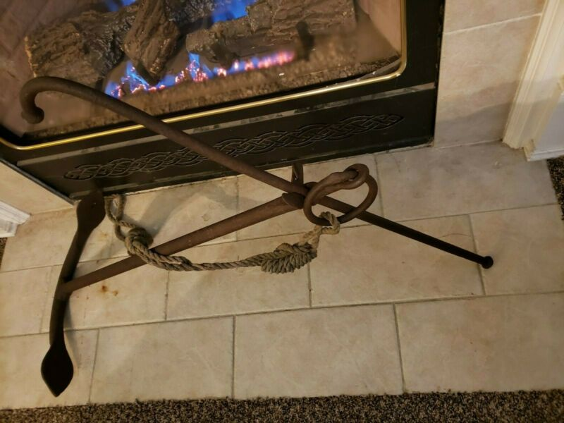 Large Antique/ Vintage Anchor with Hemp Rope