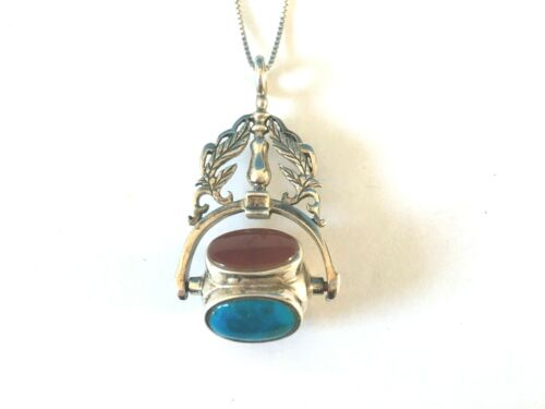 Vintage Sterling Silver 4-stone 4-sided Spinner pendant necklace