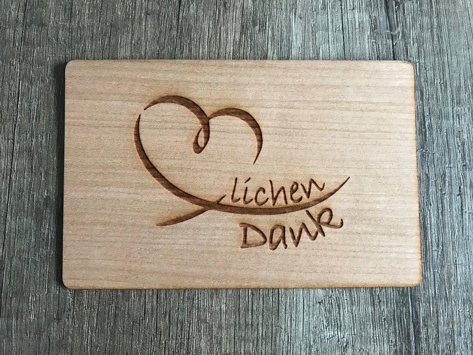 Grußkarte aus Holz Geschenk Karte Geschenkkarte Danke Herzlichen Dank Herz
