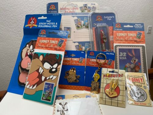 10 Item Lot Looney Tunes Postage Stamp Collection Gifts & FLASHERS Bugs Pin +NEW