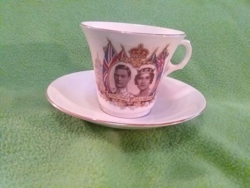 English Bone China Teacup and saucer Queen Elizabeth & King George VI visit1939