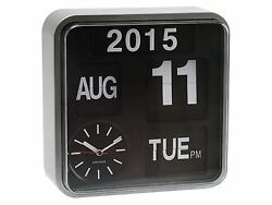 Karlsson Mini Flip Silver Clock Calendar Digital Stylish Designer Timepiece