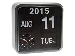 Karlsson Mini Flip Silver Clock Calendar Digital Stylish Designer Timepiece