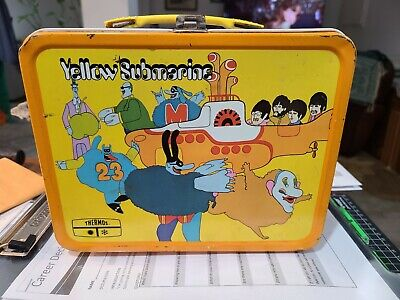 1968 Yellow Submarine vintage metal lunch box WITH thermos