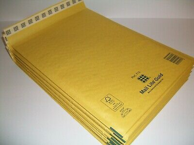 10 x F/3 A/4 size Gold MAIL LITE Bubble-lined Padded Mailing Bags CLEARANCE SALE