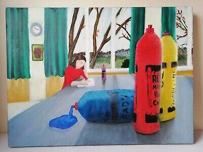 Painting On Board Original Art Girl Painting