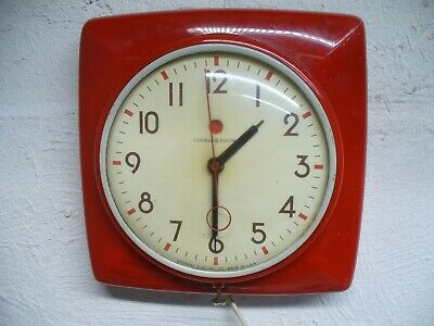 VINTAGE 1950s GE TELECHRON KITCHEN WALL CLOCK RED 2H20 Made In USA