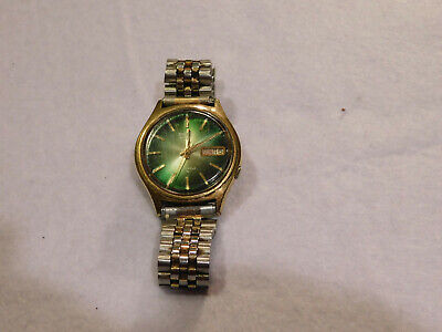 Vintage Seiko 17 Jewels Automatic 573102 Green Face Mens Watch. Working.