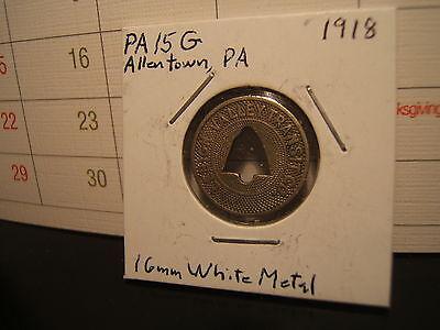 1918 ALLENTOWN PA., LEHIGH VALLEY TRANSIT CO.  Token FARE CHECK token