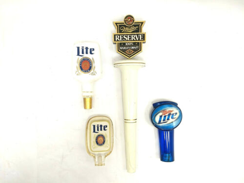 Lot of 4 MILLER / MILLER LITE Beer Tap Pull Handles : Acrylic, Wood, Porcelain