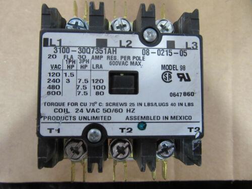 Tyco 3100-30Q7351AH Contactor 3P 30A Model 98 Coil 24VAC NEW!!!