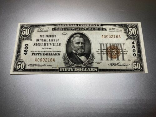 SHELBYVILLE, INDIANA 1929 $50 NATIONAL NOTE. CHARTER 4800.