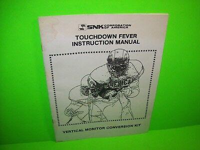 Service Manual-kit (TOUCHDOWN FEVER SNK Original Video Arcade Game Service MANUAL KIT Version)