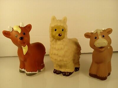 Fisher Price Little People Animals  Lot of 3 Cow Goat Llama/Alpaca  #50