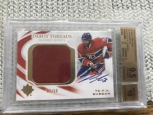 PK Subban auto jersey hockey Card 9.5 (07/50)