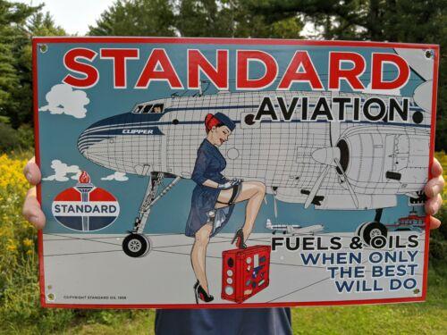 LARGE OLD VINTAGE 1956 STANDARD AVIATION MOTOR OIL PORCELAIN GAS STATION SIGN