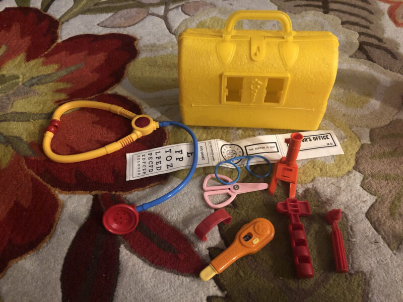 Vintage Child's Doctor Kit Yellow