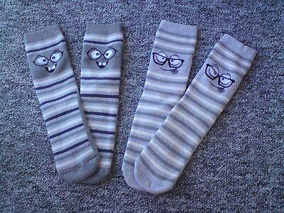 Thermo Socken mit ABS Druck * Grau gestreift mit Gesicht 31 34 *° Neu