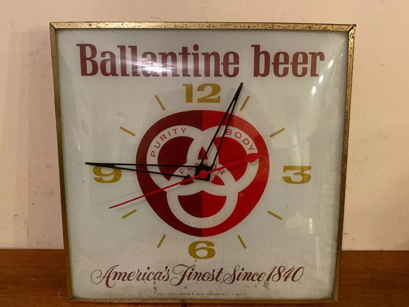 Ballantine Beer Lighted Wall Clock 1963 PAM Clock Co. WORKS
