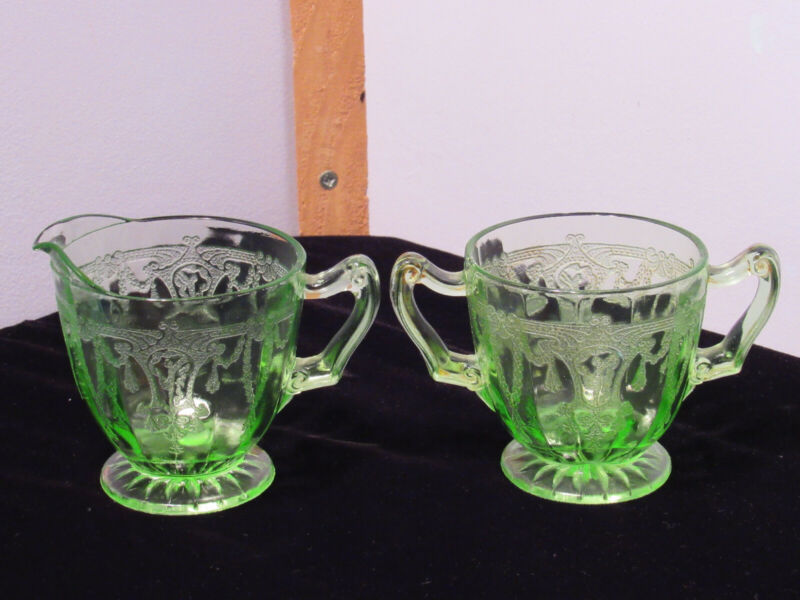 Vintage Anchor Hocking Cameo Ballerina Depression Glass Sugar and Creamer